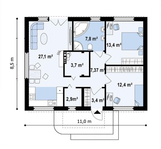 """Проект одноэтажного дома из СИП панелей """"Современный"""" - планировка"""