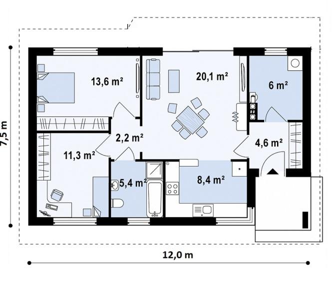 """Проект одноэтажного дома из СИП панелей """"Спокойный"""" - планировка"""