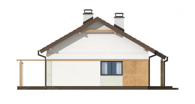 """Проект одноэтажного дома из СИП панелей с двускатной крышей """"Традиционный"""" - фасад"""