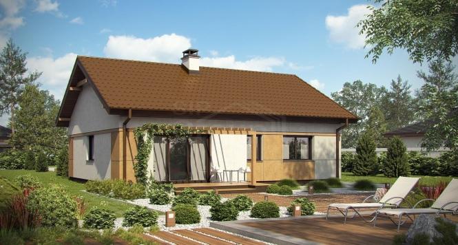 """Проект одноэтажного дома из СИП панелей с двускатной крышей """"Традиционный"""""""