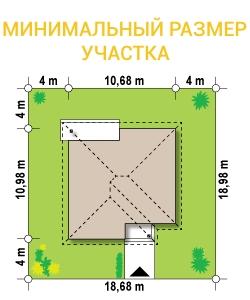 """Проект дома из СИП панелей """"Вилла"""" - минимальный размер участка"""