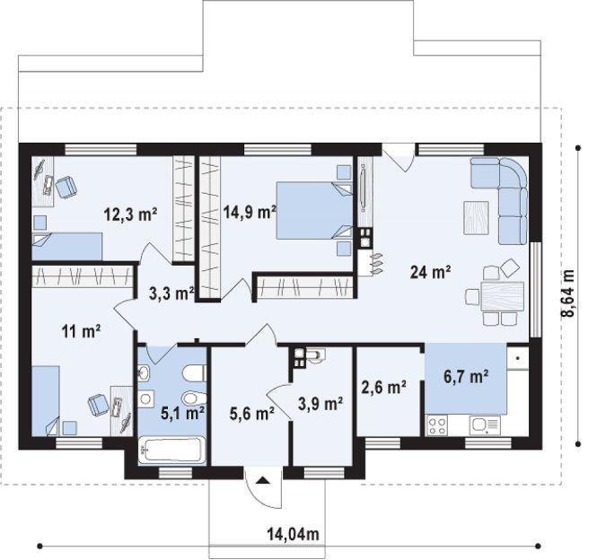 Проект одноэтажного дома из СИП панелей №95 - планировка