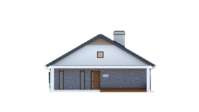 Проект одноэтажного дома из СИП панелей с террасой №95-М - фасад