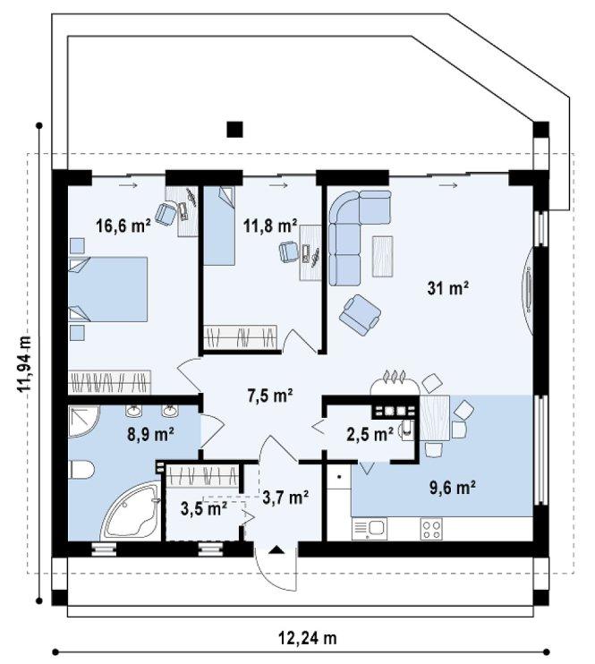 Проект одноэтажного дома из СИП панелей с террасой №95-М - планировка