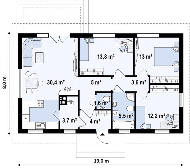 """Проект одноэтажного дома из СИП панелей """"Аккуратный"""" - планировка"""