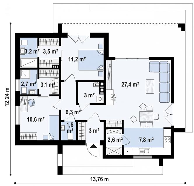 """Проект одноэтажного дома из СИП панелей """"Калифорния"""" - планировка"""
