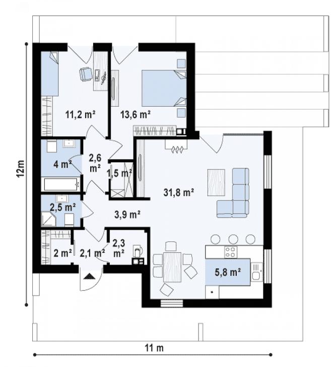 """Проект дома из СИП панелей в стиле хай-тек """"Майами"""" - планировка"""