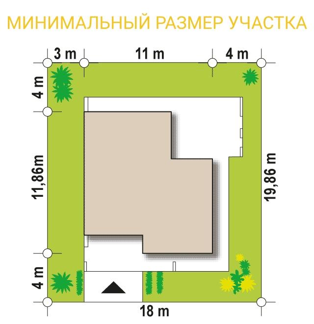"""Проект дома из СИП панелей в стиле хай-тек """"Майами"""" - минимальный размер участка"""