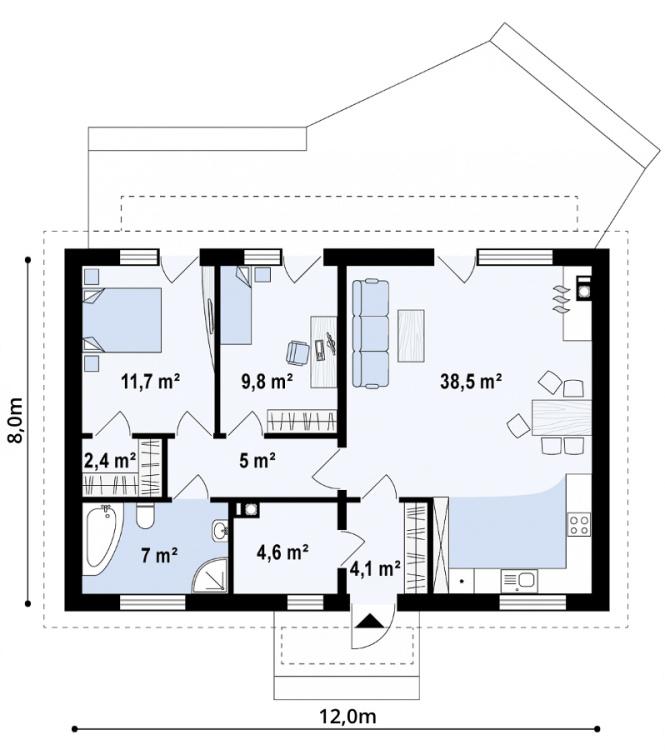 """Проект одноэтажного дома из СИП панелей """"Мечта"""" - планировка"""