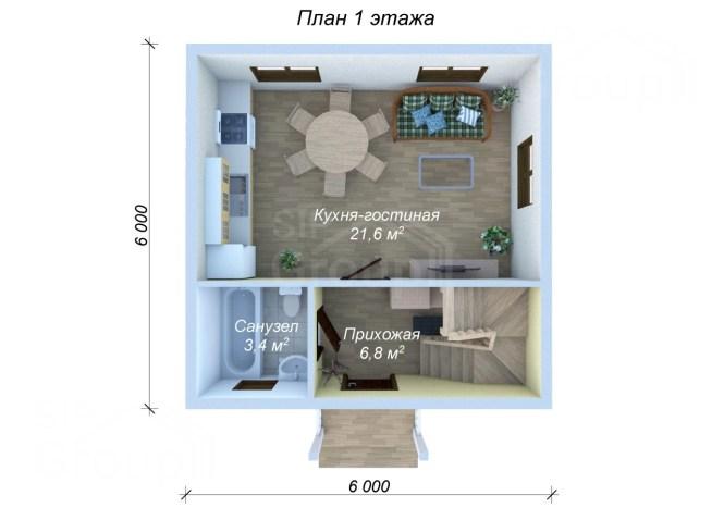 Дом за миллион рублей под ключ - планировка 1 этажа