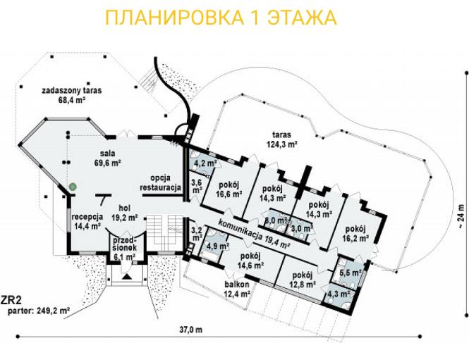 """Гостиница из СИП панелей - проект """"Альпы"""" - планировка 1ого этажа"""