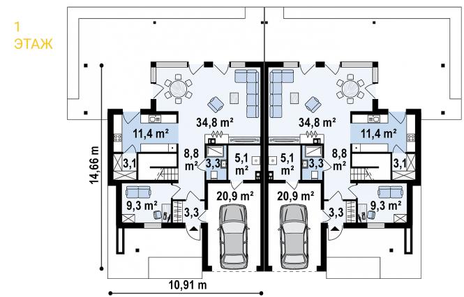 Дуплекс из СИП панелей - планировка 1 этажа