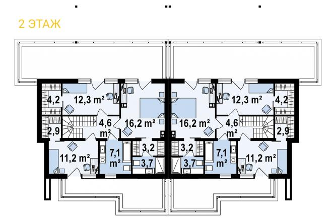 Дуплекс из СИП панелей - планировка 2 этажа