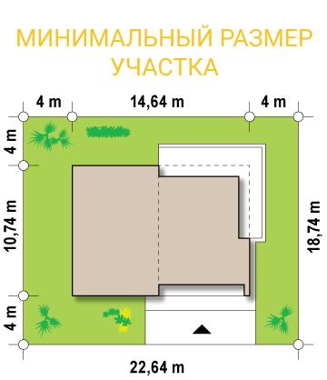 """Современный загородный дом из СИП панелей """"Линкольн"""" - минимальный размер участка"""