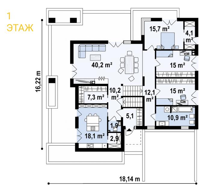 """Проект дома из СИП панелей """"Линкольн"""" - планировка 1ого этажа"""