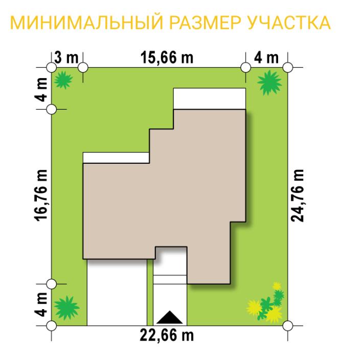 """Проект дома из СИП панелей """"Макси"""" - минимальный размер участка"""