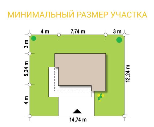 """Павильон из СИП панелей """"Микрус 2"""" - минимальный размер участка"""