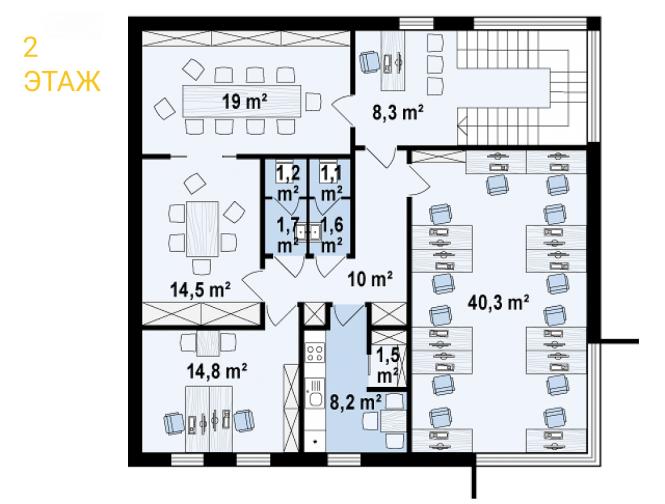 """Проект офиса из СИП панелей """"Офиус 2"""" - планировка 2 этажа"""