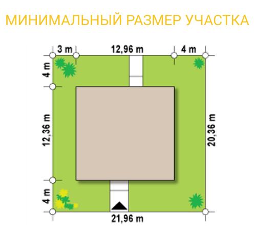 """Проект офиса из СИП панелей """"Офиус 2"""" - минимальный размер участка"""