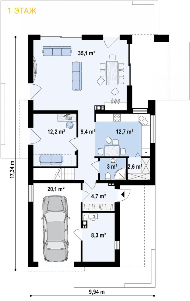 """Проект дома из СИП панелей """"Солидный"""" - планировка 1ого этажа"""