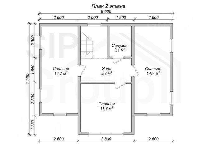 """Проект дома из СИП панелей """"Ноттингем"""" - планировка 2 этажа"""