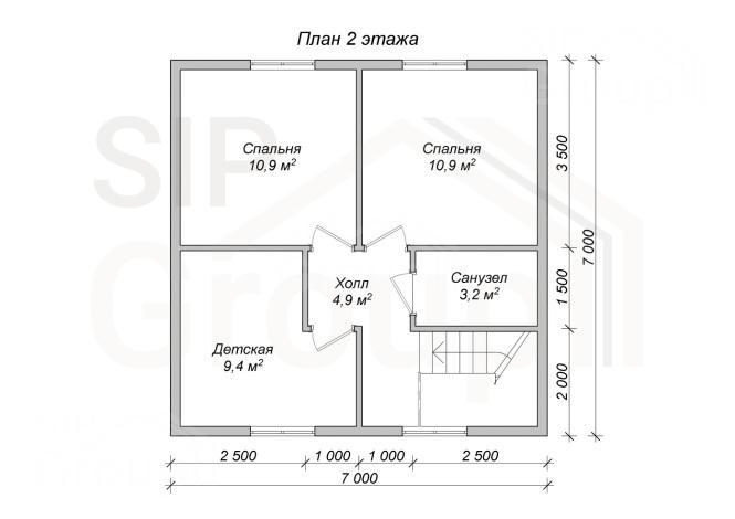 """Проект дома из СИП панелей """"Лидер"""" - планировка 2 этажа"""