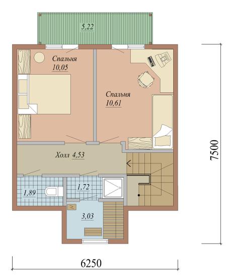 Проект дома из СИП панелей площадью 84 м2 - 2 этаж