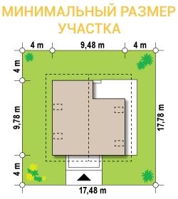 """Проект дома из СИП панелей """"Бавария"""" - минимальный размер участка"""