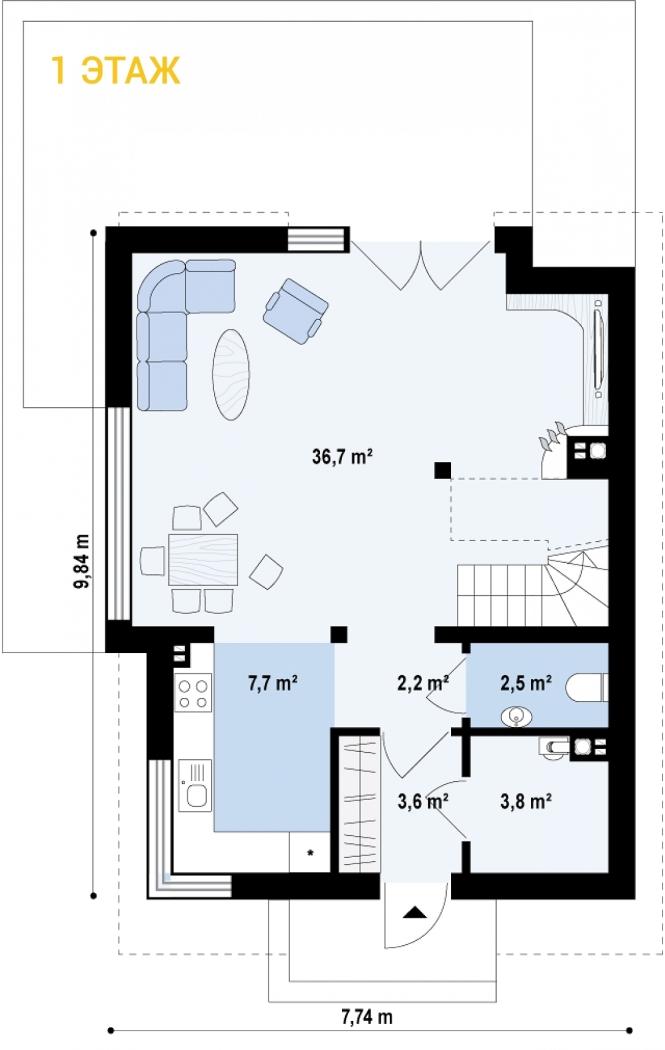 """Проект дома из СИП панелей """"Бриз"""" - планировка 1 этажа"""