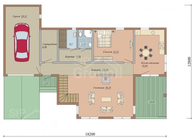 """Проект дома из СИП панелей """"Гарант"""" - планировка"""