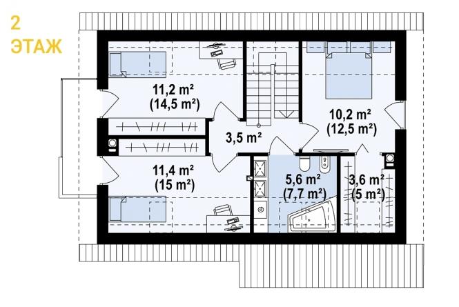 """Проект дома из СИП панелей """"Основательный"""" - планировка 2 этажа"""