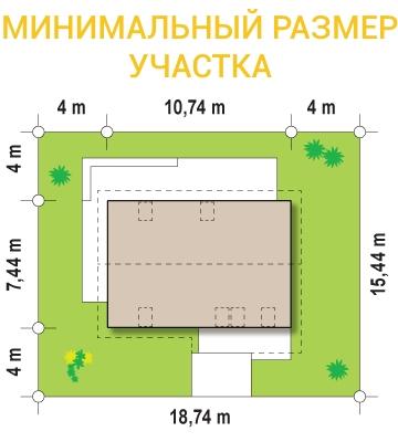 """Проект дома из СИП панелей """"Основательный"""" - минимальный размер участка"""