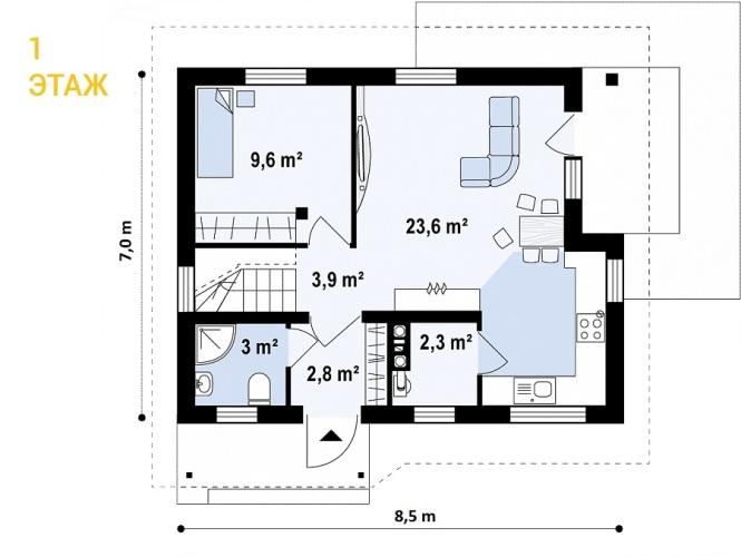 """Проект дома из СИП панелей """"Удачный"""" - планировка 1 этажа"""