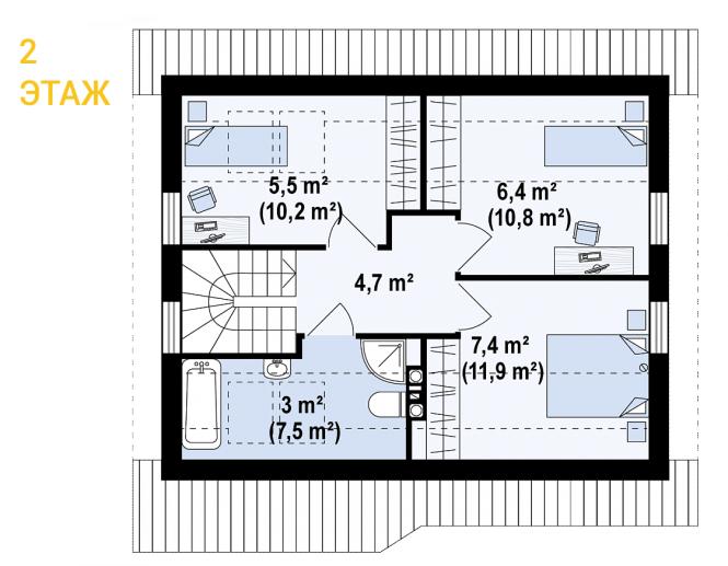 """Проект дома из СИП панелей """"Удачный"""" - планировка 2 этажа"""