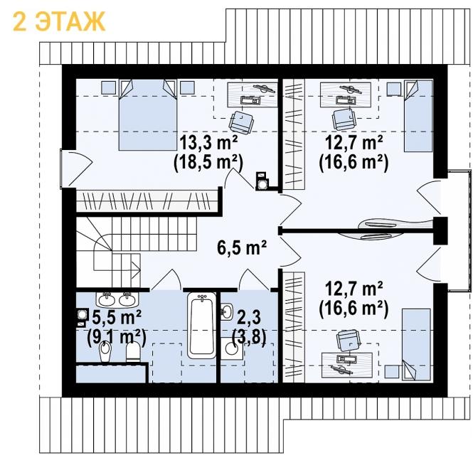 """Проект дома из СИП панелей """"Вертиго"""" - планировка 2 этажа"""