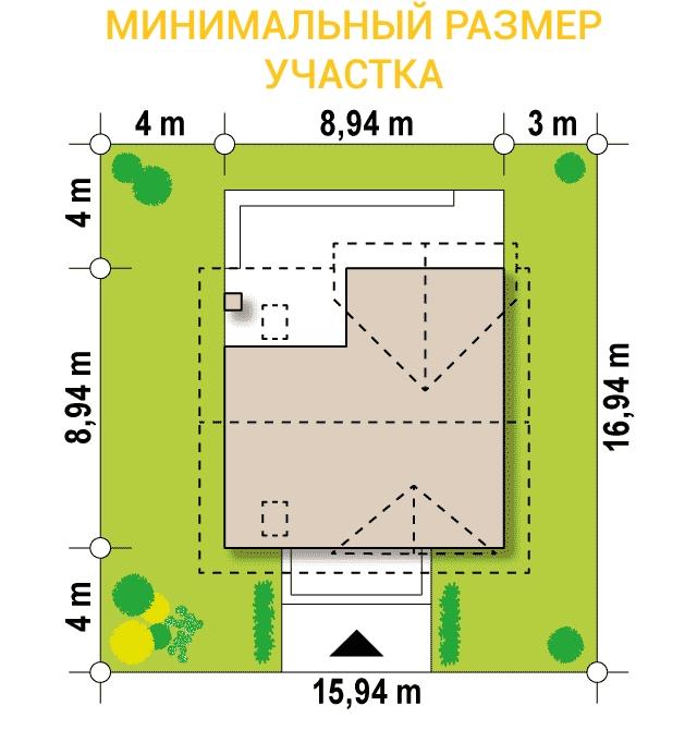 """Проект дома из СИП панелей с мансардой """"Индивидуальный"""" - минимальный размер участка"""