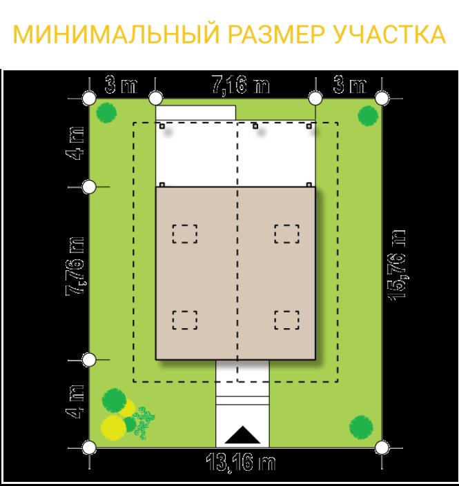 """Проект дома из СИП панелей """"Конфетка"""" - минимальный размер участка"""