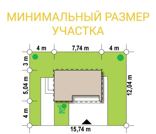 """Проект одноэтажного павильона из СИП панелей """"Микрус"""" - минимальный размер участка"""