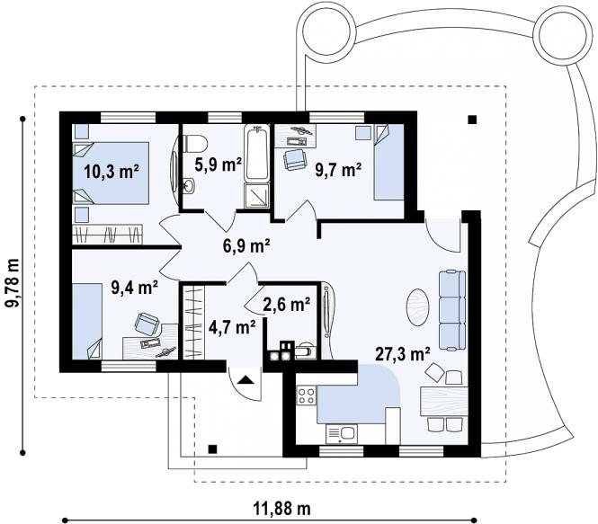 "Проект дома из СИП панелей ""Натали"" - планировка"