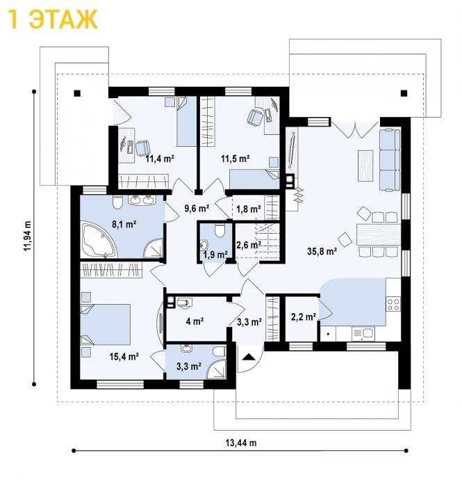 """Проект одноэтажного дома из СИП панелей """"Нова"""" - планировка"""