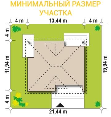 """Проект одноэтажного дома из СИП панелей """"Нова"""" - миниальный размер участка"""