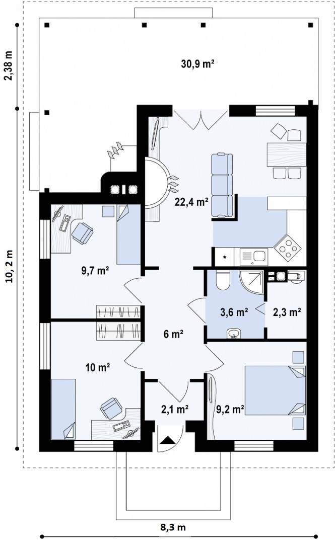 """Проект одноэтажного дома из СИП панелей """"Ранчо"""" - планировка"""