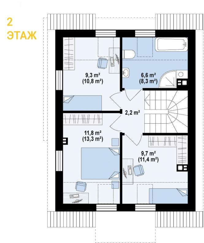 """Проект дома из СИП панелей с мансардой """"Стильный"""" - планировка 1 этажа"""