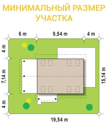 """Проект дома из СИП панелей с мансардой """"Удобный"""" - минимальный размер участка"""