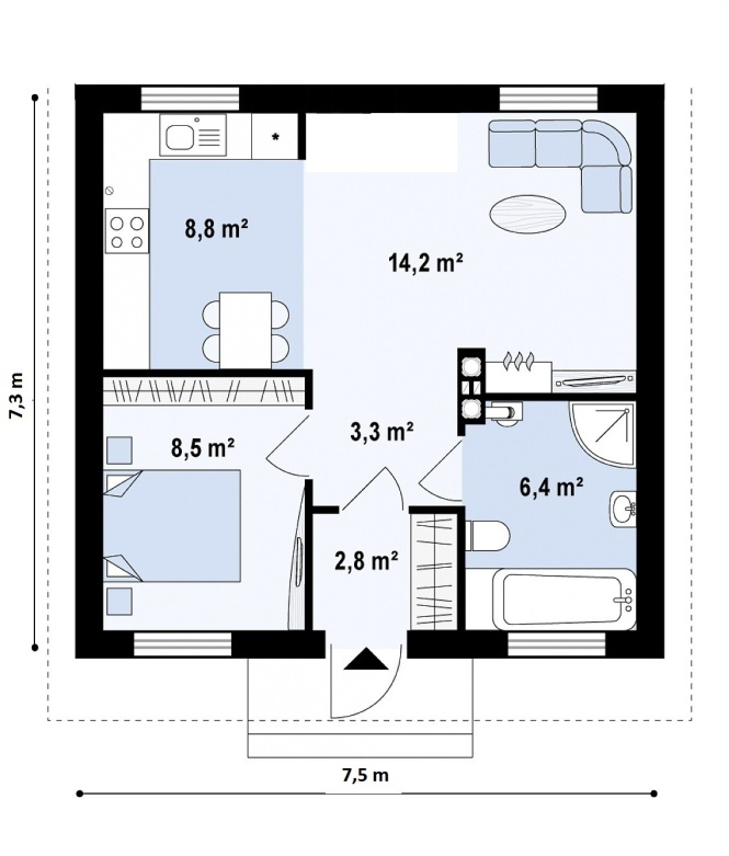 """Проект одноэтажного дома из СИП панелей """"Уютный"""" - планировка"""