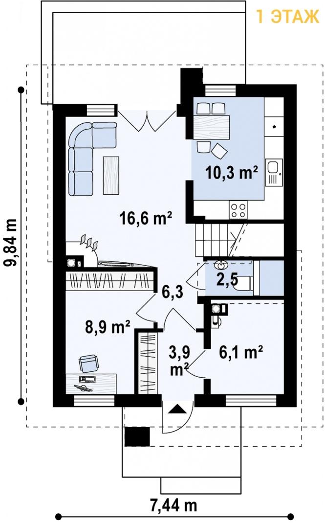 """Проект дома из СИП панелей с мансардным этажом """"Барселона"""" - планировка 1 этажа"""