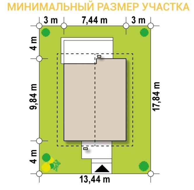 """Проект дома из СИП панелей с мансардным этажом """"Барселона"""" - минимальный размер участка"""