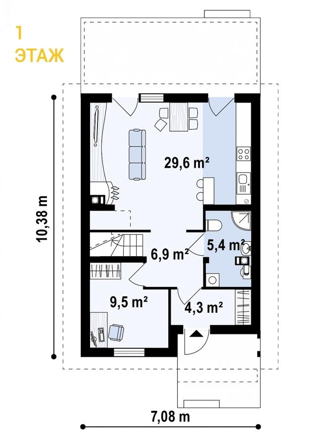 """Проект дома из СИП панелей """"Гармония"""" - планировка 1 этажа"""