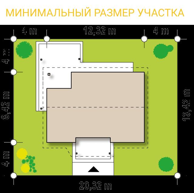 """Проект одноэтажного дома из СИП панелей """"Южный"""" - минимальный размер участка"""
