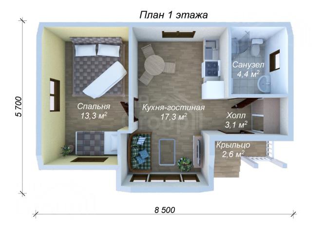 """Проект одноэтажного дома из СИП панелей """"Комфортный"""" - планировка"""